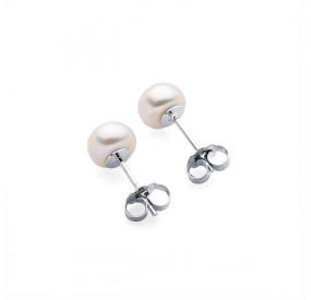 Kolczyki kolor biały perła 6 mm