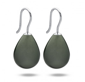 Kolczyki kolor zielony-butelkowy perła 13 x 18 mm