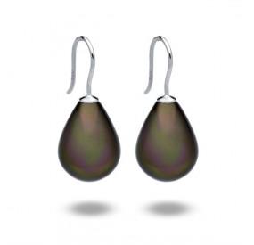 Kolczyki kolor brązowy-ciemny perła 13 x 18 mm