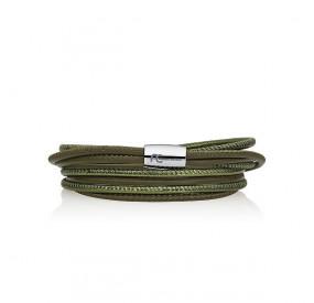 Bransoletka kolor zielony-ciemny zielony skóra 2,5 mm