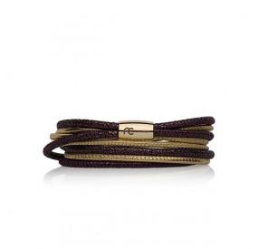 Bransoletka kolor fioletowy złoty skóra 3 mm