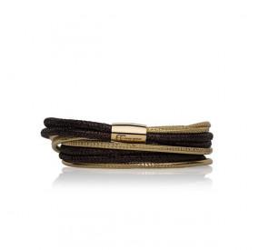 Bransoletka kolor brązowy złoty skóra 3 mm