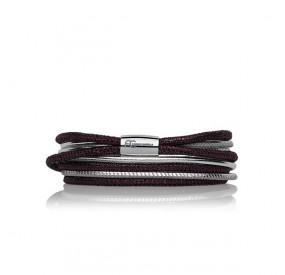 Bransoletka kolor fioletowy srebrny skóra 3 mm