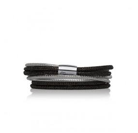 Bransoletka kolor czarny srebrny skóra 3 mm