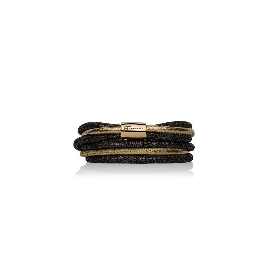 Bransoletka kolor czarny złoty skóra 4 mm