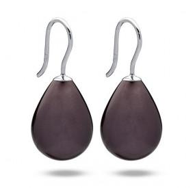 Kolczyki kolor fioletowy-śliwkowy perła 13 x 18 mm