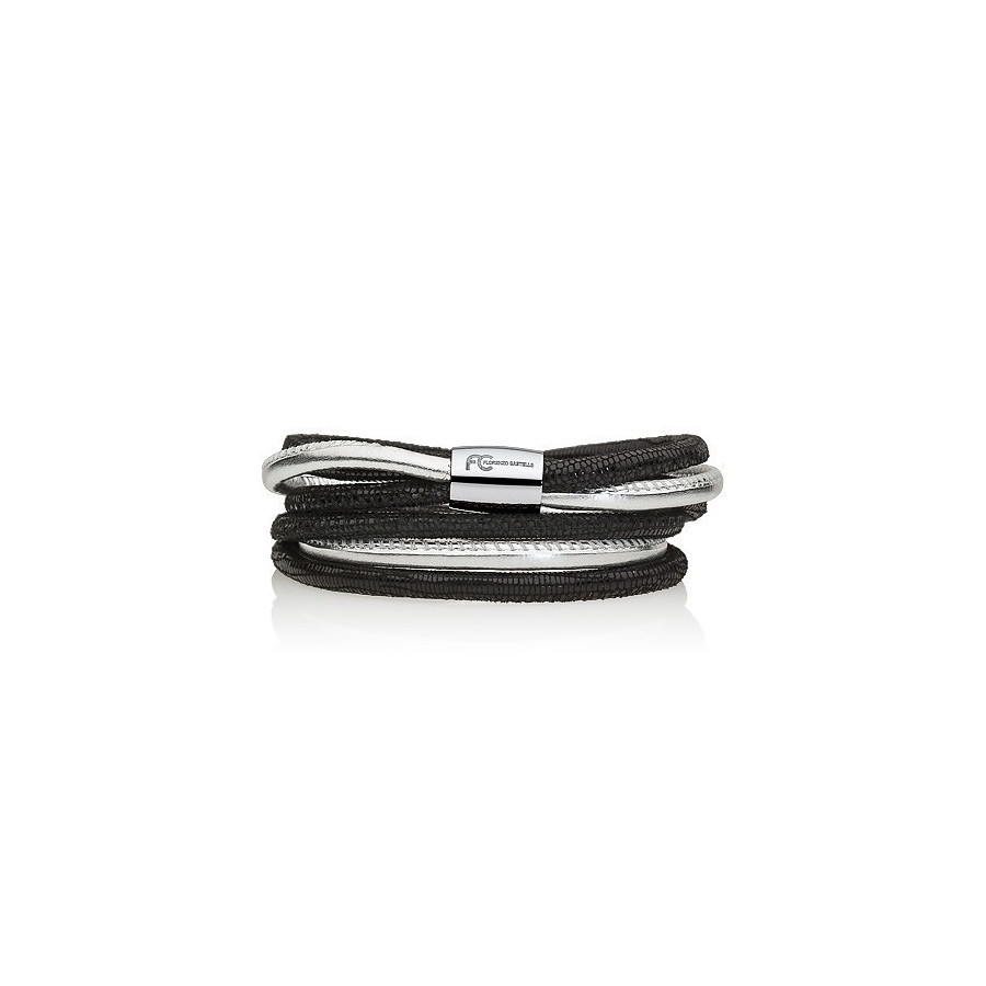 Bransoletka kolor czarny srebrny skóra 4 mm
