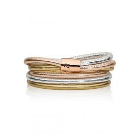 Bransoletka kolor różowy srebrny złoty skóra 4 mm