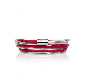 Bransoletka kolor czerwony srebrny skóra 2,5 mm