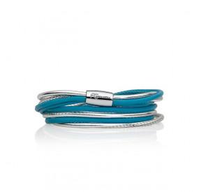 Bransoletka kolor turkusowy-niebieski srebrny skóra 2,5 mm