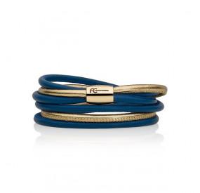 Bransoletka kolor niebieski złoty skóra 4 mm