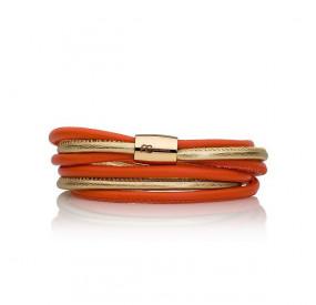 Bransoletka kolor pomarańczowy złoty skóra 4 mm