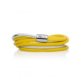 Bransoletka kolor żółty srebrny skóra 4 mm