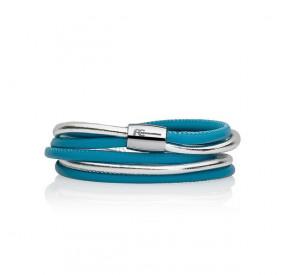 Bransoletka kolor turkusowy-niebieski srebrny skóra 4 mm
