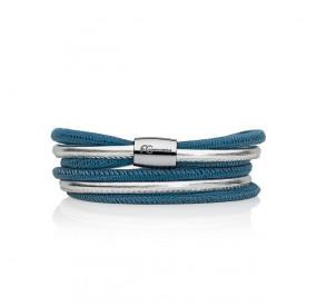 Bransoletka kolor niebieski srebrny skóra 4 mm