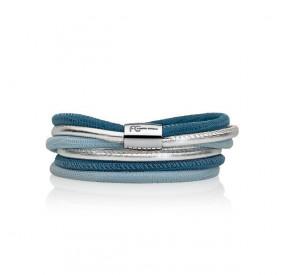 Bransoletka kolor błękitny niebieski srebrny skóra 4 mm