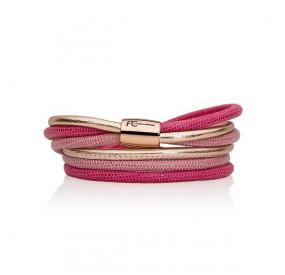 Bransoletka kolor różowy-jasny różowy skóra 4 mm