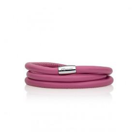 Bransoletka kolor różowy skóra 5 mm