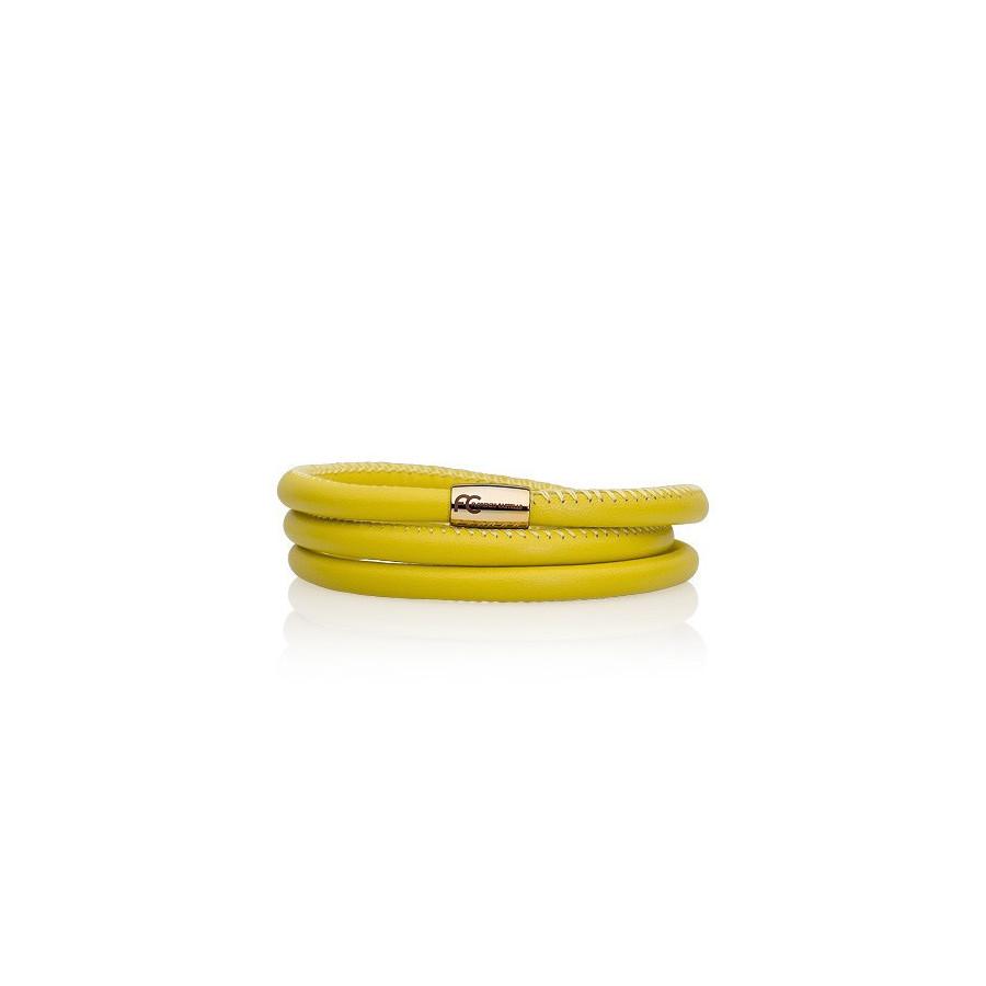Bransoletka kolor żółty skóra 5 mm