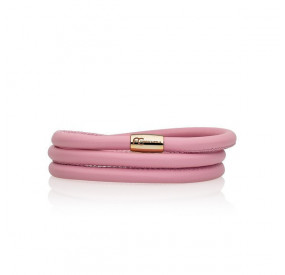 Bransoletka kolor różowy-jasny skóra 5 mm