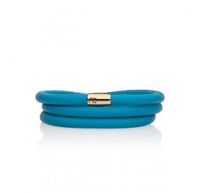 Bransoletka kolor turkusowy-niebieski skóra 5 mm