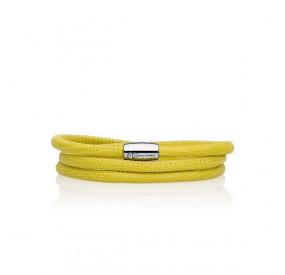 Bransoletka kolor żółty skóra 4 mm