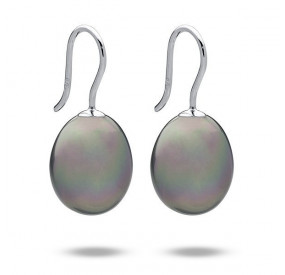 Kolczyki kolor srebrny perła 12 x 15 mm