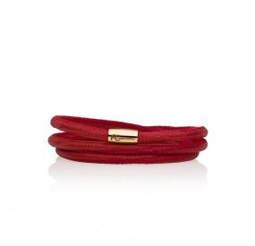 Bransoletka kolor czerwony skóra 4 mm