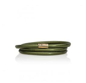 Bransoletka kolor zielony skóra 4 mm