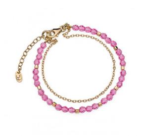 Bransoletka różowy kryształ Swarovski 4 mm