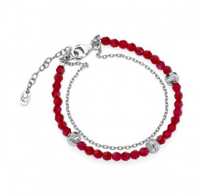 Bransoletka czerwony kryształ Swarovski 4 mm