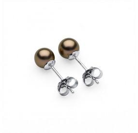 Kolczyki kolor złoty-antyczny perła 6 mm