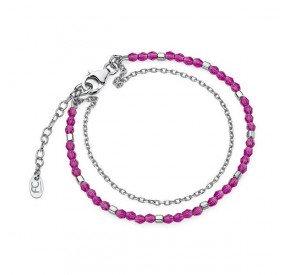 Bransoletka różowy-fuksja kryształ Swarovski 3 mm