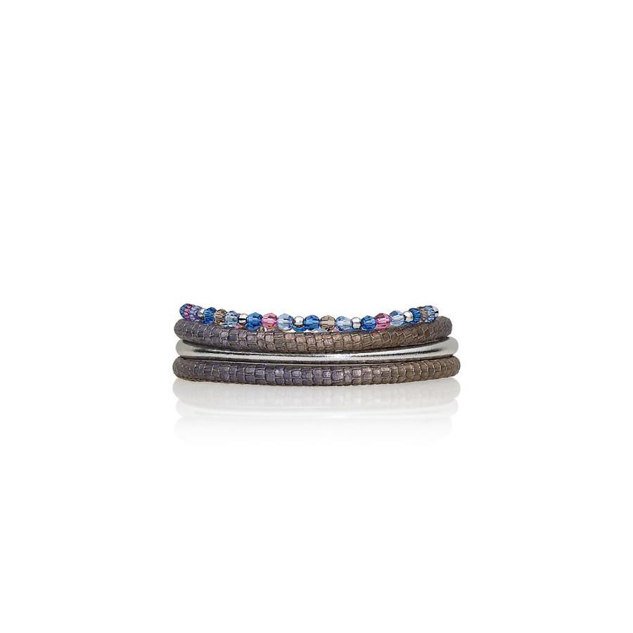 Zestaw bransoletek beżowy błękitny niebieski różowy szary srebrny