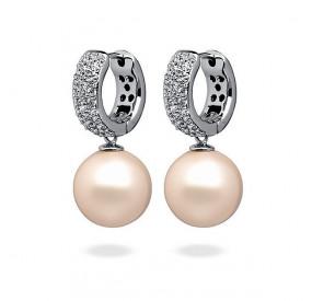 Kolczyki kolor różowy-jasny cyrkonie perła 12 mm