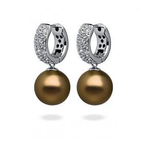 Kolczyki kolor złoty-antyczny cyrkonie perła 12 mm
