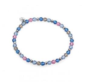 Bransoletka błękitny niebieski różowy szary kryształ Swarovski 4 mm