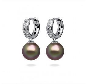 Kolczyki kolor beżowy-cappucino cyrkonie perła 10 mm