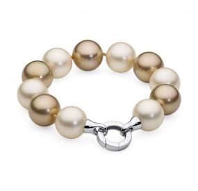 Bransoletka kolor kremowy złoty perła 16 mm