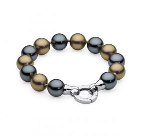Bransoletka kolor grafitowy złoty-antyczny perła 12 mm