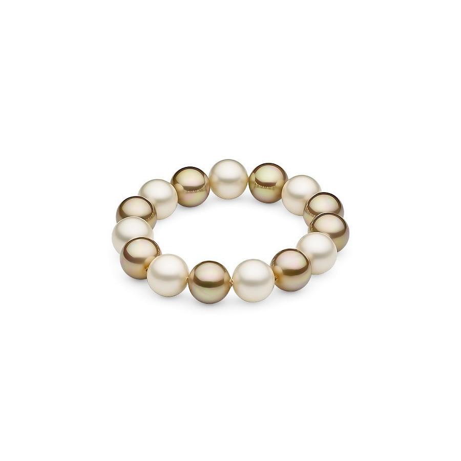 Bransoletka kolor kremowy złoty perła 12 mm