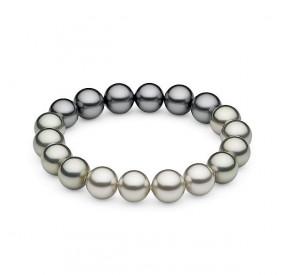 Bransoletka kolor grafitowy srebrny perła 10 mm