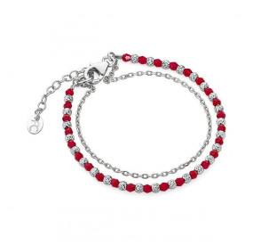Bransoletka czerwony kryształ Swarovski 3 mm