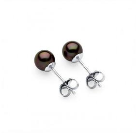 Kolczyki kolor brązowy-ciemny perła 6 mm