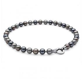 Naszyjnik grafitowy srebrny perła 10 mm