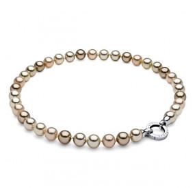 Naszyjnik złoty-jasny perła 10 mm