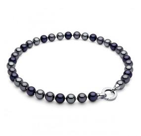 Naszyjnik granatowy srebrny perła 10 mm
