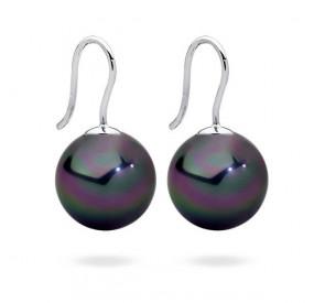 Kolczyki kolor fioletowy-benzynowy perła 14 mm