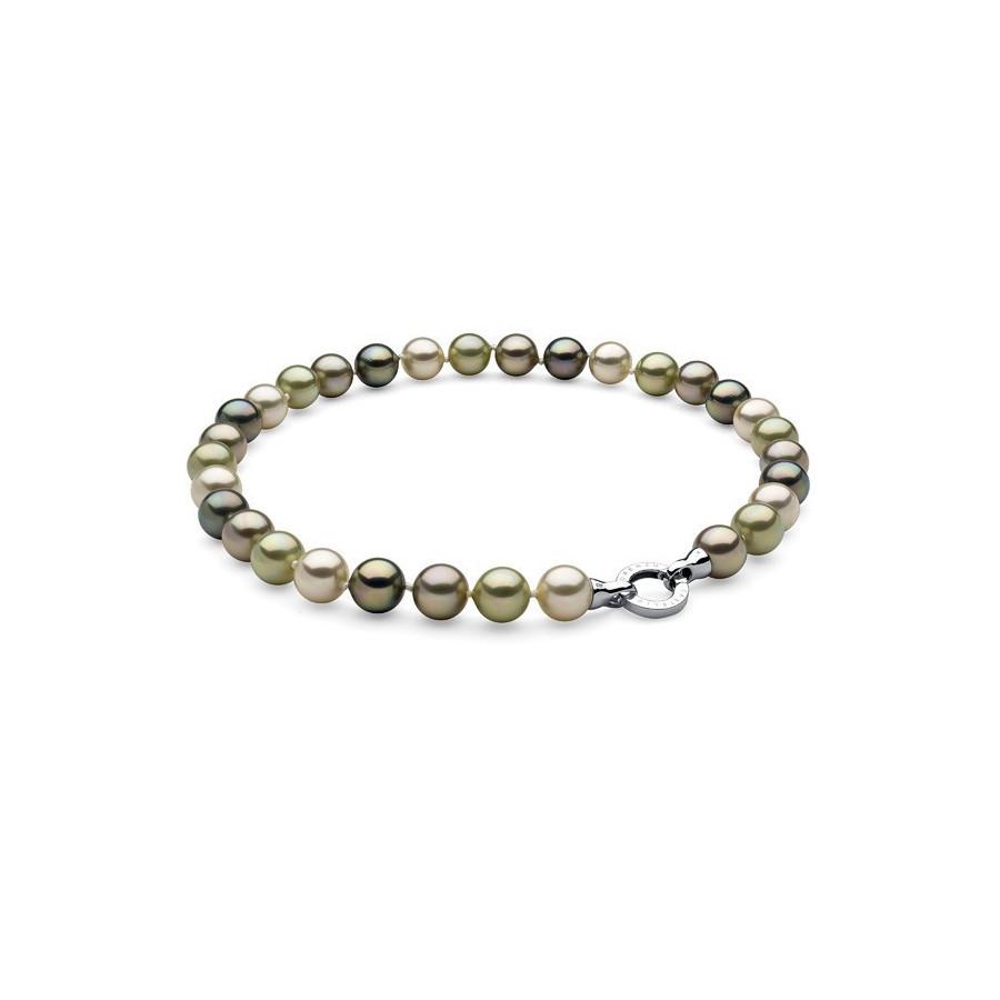 Naszyjnik zielony-odcienie perła 12 mm