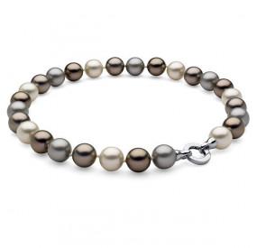 Naszyjnik kremowy srebrny złoty perła 14 mm